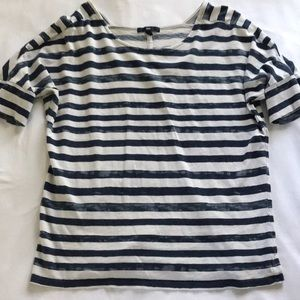GAP Navy and White Striped Tee